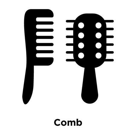 Comb icon vector isolated on white background, logo concept of Comb sign on transparent background, filled black symbol