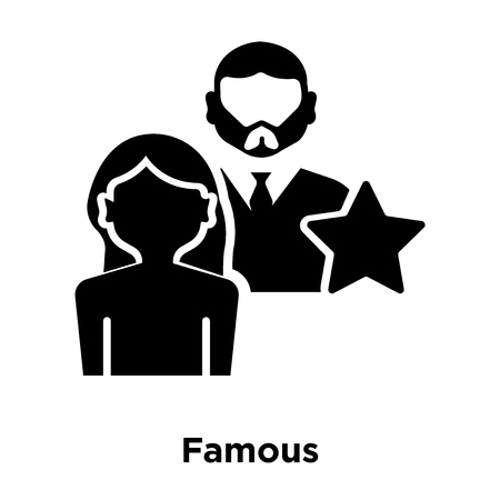 Famous icon vector isolated on white background, logo concept of Famous sign on transparent background, filled black symbol