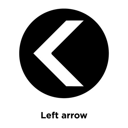 Left arrow icon vector isolated on white background, logo concept of Left arrow sign on transparent background, filled black symbol Vectores
