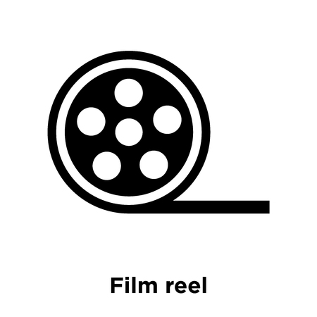 Film reel icon vector isolated on white background, logo concept of Film reel sign on transparent background, filled black symbol Stock Illustratie
