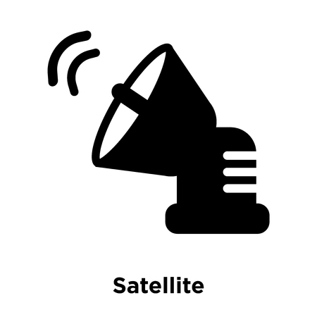 Satellite icon vector isolated on white background, logo concept of Satellite sign on transparent background, filled black symbol