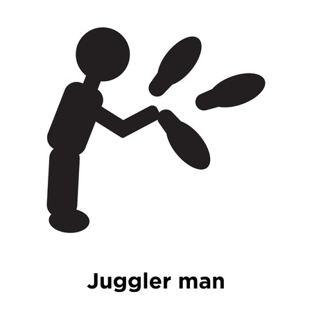 Juggler man icon vector isolated on white background, logo concept of Juggler man sign on transparent background, filled black symbol