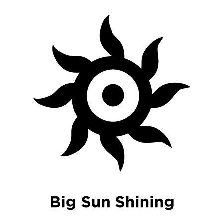 Big Sun Shining icon vector isolated on white background, logo concept of Big Sun Shining sign on transparent background, filled black symbol