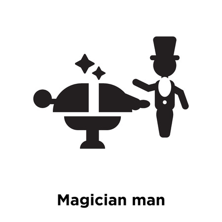Magician man icon vector isolated on white background, logo concept of Magician man sign on transparent background, filled black symbol Logó