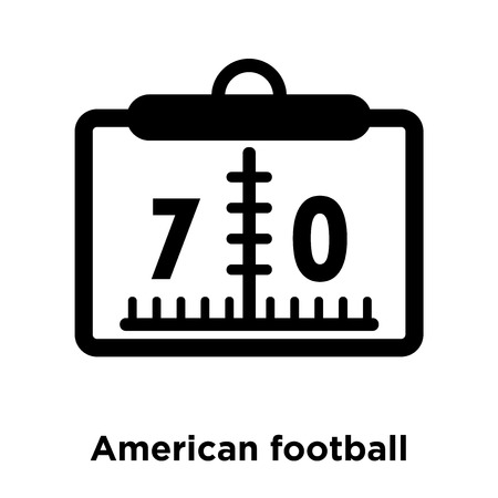 American football scores numbers icon vector isolated on white background, logo concept of American football scores numbers sign on transparent background, filled black symbol