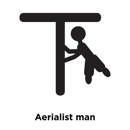 Aerialist man icon vector isolated on white background, logo concept of Aerialist man sign on transparent background, filled black symbol Illustration