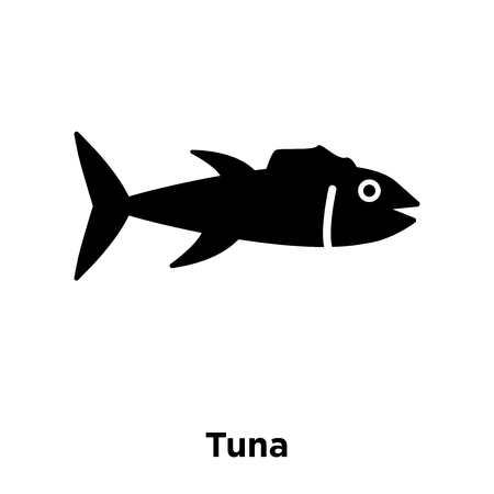 Tuna icon vector isolated on white background, logo concept of Tuna sign on transparent background, filled black symbol