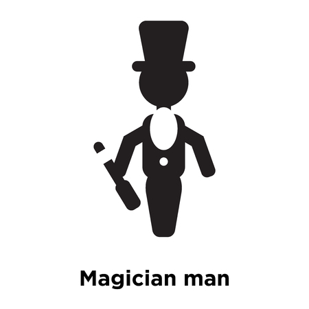 Magician man icon vector isolated on white background, logo concept of Magician man sign on transparent background, filled black symbol