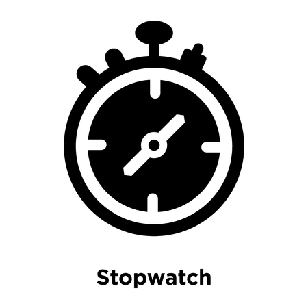 Stopwatch icon vector isolated on white background, logo concept of Stopwatch sign on transparent background, filled black symbol