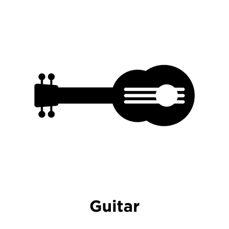 Guitar icon vector isolated on white background, logo concept of Guitar sign on transparent background, filled black symbol