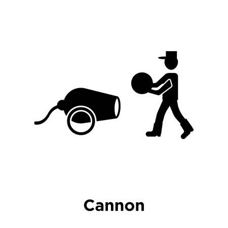 Cannon icon vector isolated on white background, logo concept of Cannon sign on transparent background, filled black symbol