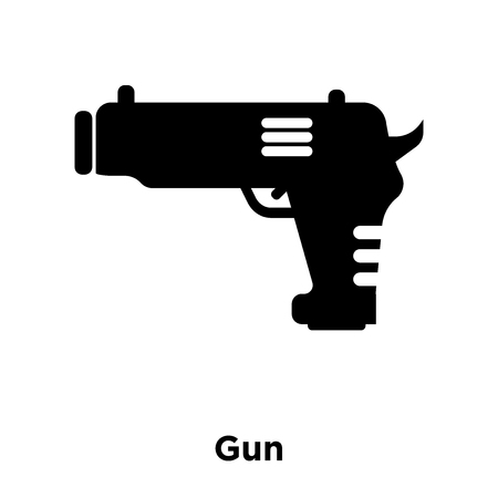 Gun icon vector isolated on white background, logo concept of Gun sign on transparent background, filled black symbol