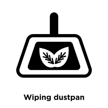 Wiping dustpan icon vector isolated on white background, logo concept of Wiping dustpan sign on transparent background, filled black symbol Stock Illustratie