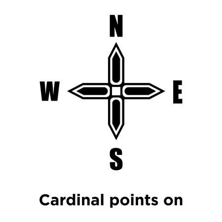 Points cardinaux sur vecteur d'icône étoile vents isolé sur fond blanc, notion de logo de points cardinaux sur signe étoile de vents sur fond transparent, rempli de symbole en noir Logo