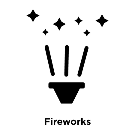 Fireworks icon vector isolated on white background, logo concept of Fireworks sign on transparent background, filled black symbol Vettoriali