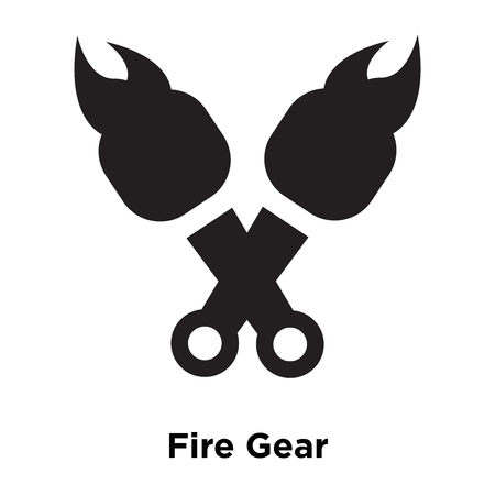 Fire Gear icon vector isolated on white background, logo concept of Fire Gear sign on transparent background, filled black symbol Stock Illustratie
