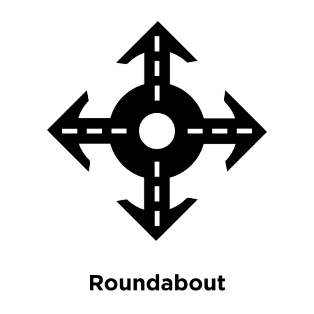 Roundabout icon vector isolated on white background, logo concept of Roundabout sign on transparent background, filled black symbol Vectores