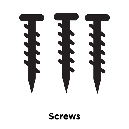 Screws icon vector isolated on white background, logo concept of Screws sign on transparent background, filled black symbol