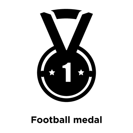 Football medal icon vector isolated on white background, logo concept of Football medal sign on transparent background, filled black symbol
