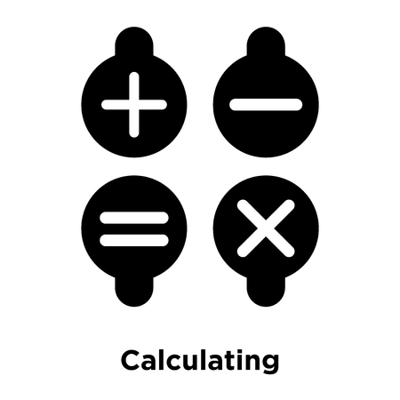 Calculating Symbol icon vector isolated on white background, logo concept of Calculating Symbol sign on transparent background, filled black symbol