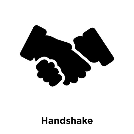 Handshake icon vector isolated on white background, logo concept of Handshake sign on transparent background, filled black symbol Stock Illustratie