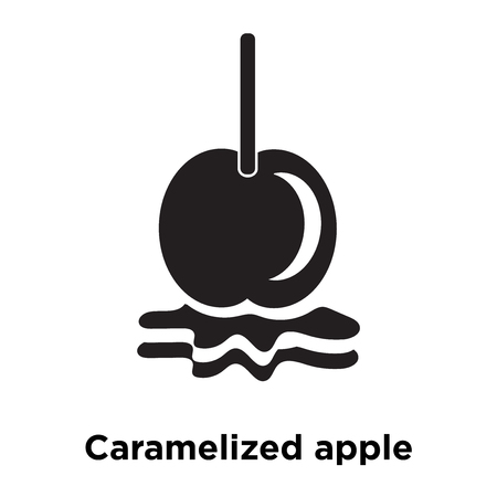 Caramelized apple icon vector isolated on white background, logo concept of Caramelized apple sign on transparent background, filled black symbol