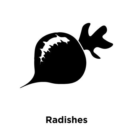 白い背景に分離された大根アイコンベクトル、大根のロゴコンセプトは透明な背景にサイン、黒いシンボルを満たした ベクターイラストレーション