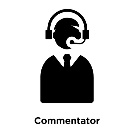 Commentator icon vector isolated on white background, logo concept of Commentator sign on transparent background, filled black symbol Illustration