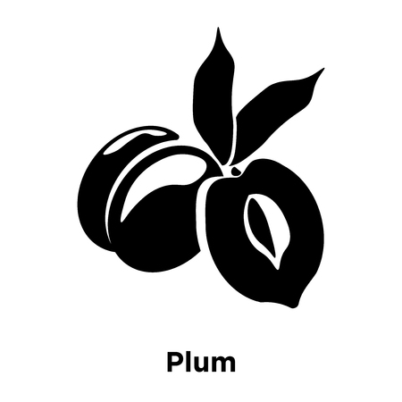 Plum icon vector isolated on white background, logo concept of Plum sign on transparent background, filled black symbol
