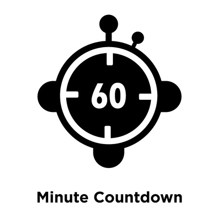 Minute Countdown icon vector isolated on white background, logo concept of Minute Countdown sign on transparent background, filled black symbol Illustration