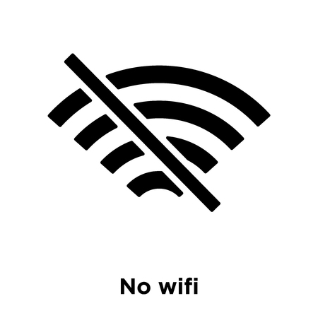 No wifi icon vector isolated on white background, logo concept of No wifi sign on transparent background, filled black symbol Ilustração