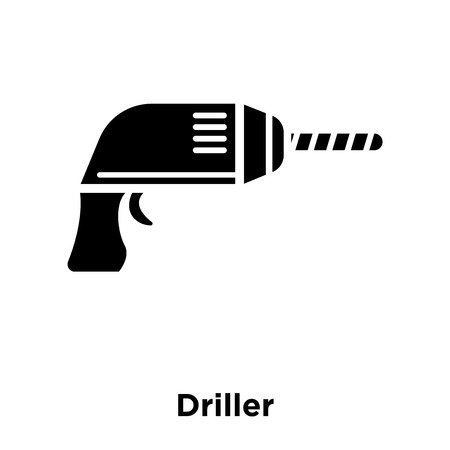 Driller icon vector isolated on white background, logo concept of Driller sign on transparent background, filled black symbol Vettoriali