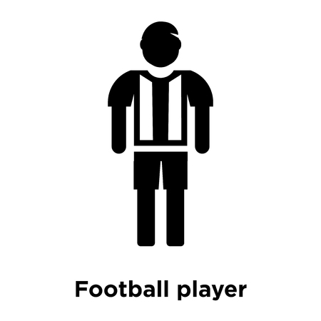 Football player icon vector isolated on white background, logo concept of Football player sign on transparent background, filled black symbol