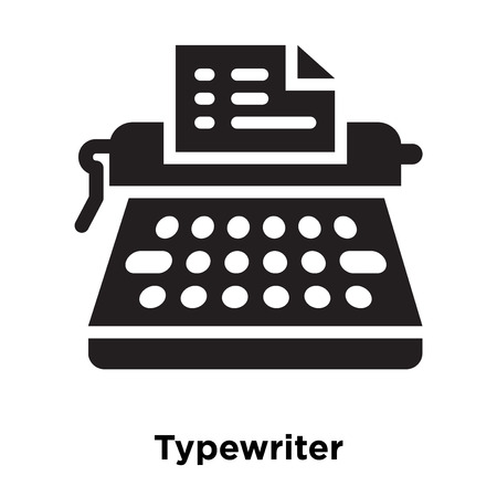 Typewriter icon vector isolated on white background, logo concept of Typewriter sign on transparent background, filled black symbol