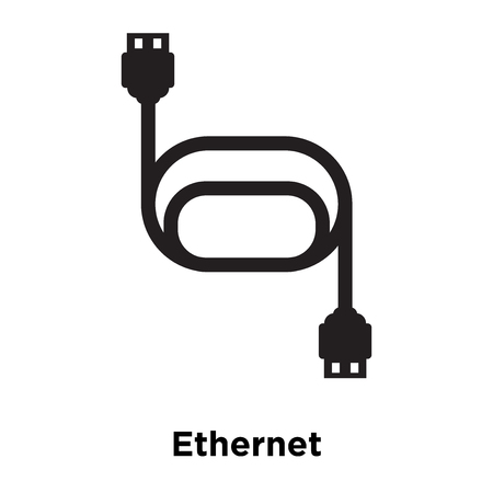 Ethernet icon vector isolated on white background, logo concept of Ethernet sign on transparent background, filled black symbol