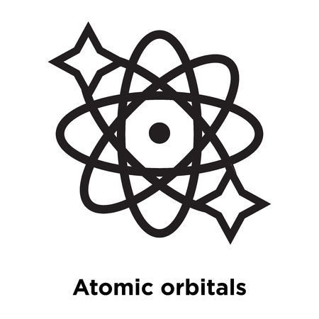 Atomic orbitals icon vector isolated on white background, logo concept of Atomic orbitals sign on transparent background, filled black symbol