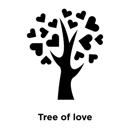 Tree of love icon vector isolated on white background, logo concept of Tree of love sign on transparent background, filled black symbol