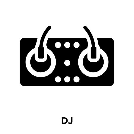 DJ icon vector isolated on white background, logo concept of DJ sign on transparent background, filled black symbol