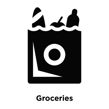 Groceries icon vector isolated on white background, logo concept of Groceries sign on transparent background, filled black symbol Çizim