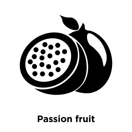 Passion fruit icon vector isolated on white background, logo concept of Passion fruit sign on transparent background, filled black symbol Illustration