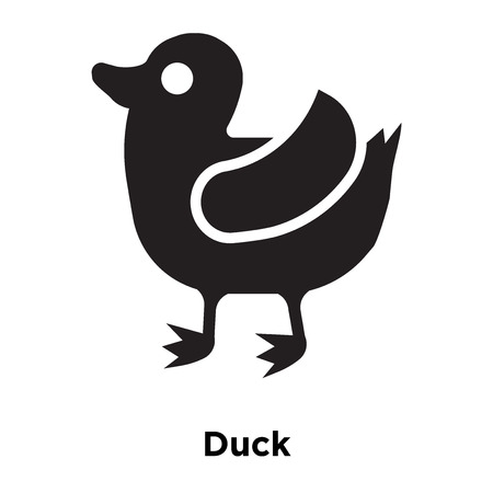 Duck icon vector isolated on white background, logo concept of Duck sign on transparent background, filled black symbol