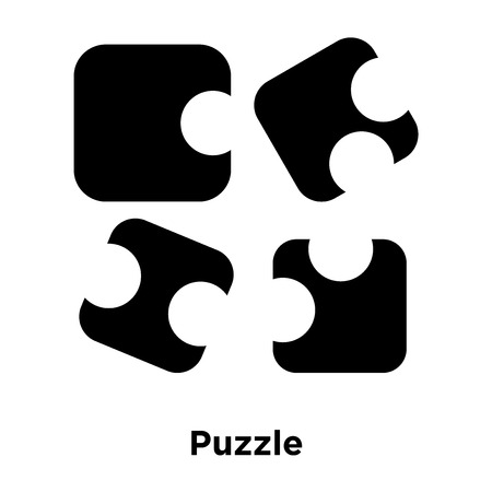 Puzzle icon vector isolated on white background, logo concept of Puzzle sign on transparent background, filled black symbol