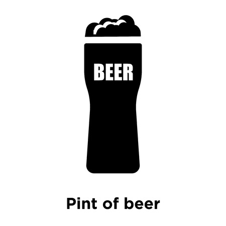 Pint of beer icon vector isolated on white background, logo concept of Pint of beer sign on transparent background, filled black symbol