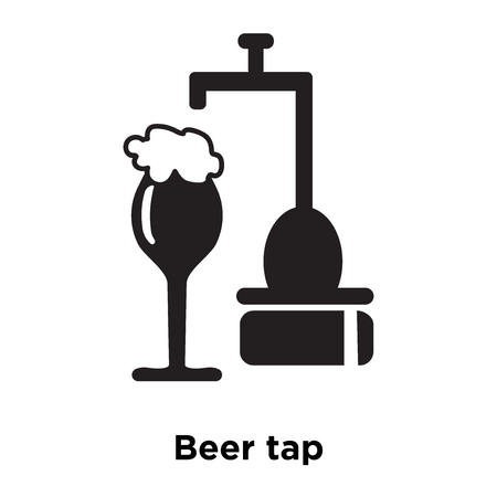Beer tap icon vector isolated on white background, logo concept of Beer tap sign on transparent background, filled black symbol