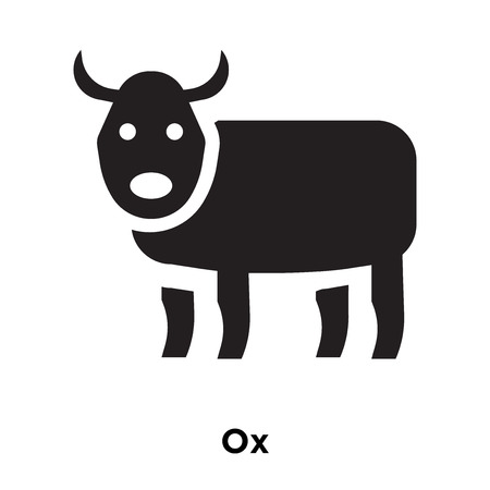 Ox icon vector isolated on white background, logo concept of Ox sign on transparent background, filled black symbol