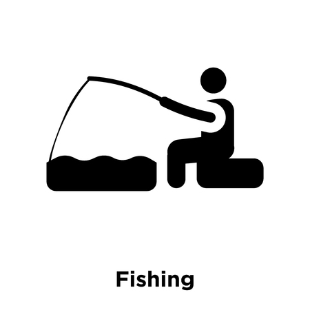 Fishing icon vector isolated on white background, logo concept of Fishing sign on transparent background, filled black symbol