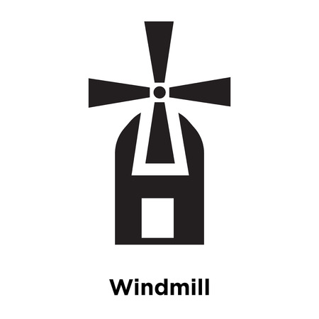 Windmill icon vector isolated on white background, logo concept of Windmill sign on transparent background, filled black symbol Illustration
