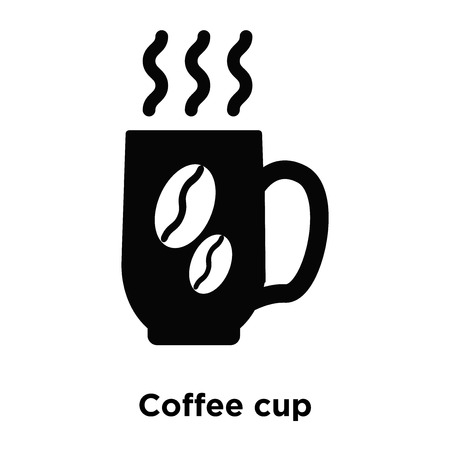 Coffee cup icon vector isolated on white background, logo concept of Coffee cup sign on transparent background, filled black symbol