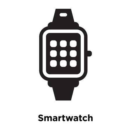 Smartwatch icon vector isolated on white background, logo concept of Smartwatch sign on transparent background, filled black symbol