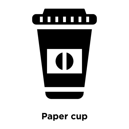 Paper cup icon vector isolated on white background, logo concept of Paper cup sign on transparent background, filled black symbol